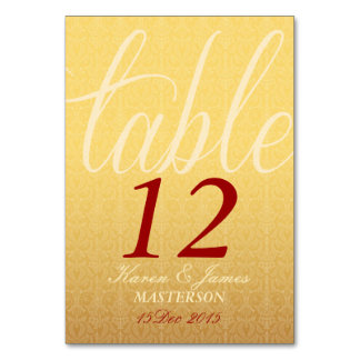 Red & Yellow Damask  Wedding Table Number Card