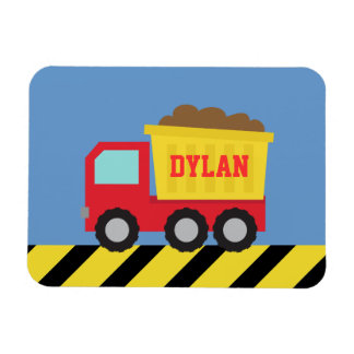 Red Yellow Dump Truck Kids Personalized Magnet