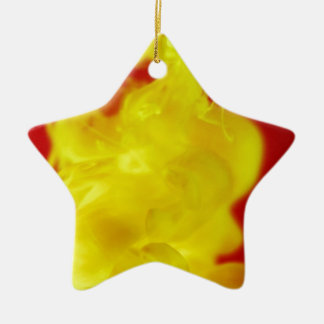 Red Yellow Fire Ink Drop Photography Ceramic Ornament