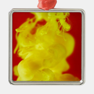 Red Yellow Fire Ink Drop Photography Metal Ornament