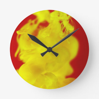Red Yellow Fire Ink Drop Photography Round Clock