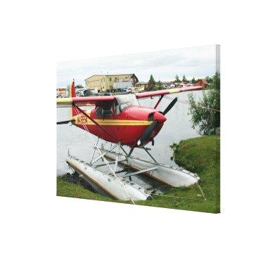 franwestphotography Red & Yellow Float Plane, Lake Hood, Alaska Canvas Print