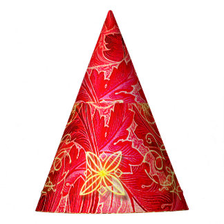 Red, yellow floral design party hat