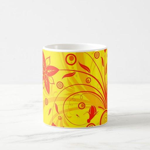 Red-yellow floral mug