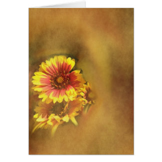Red & Yellow Floral on Canvas Greeting Cards