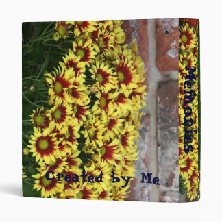 Red Yellow Flowers against brown red brick wall 3 Ring Binder