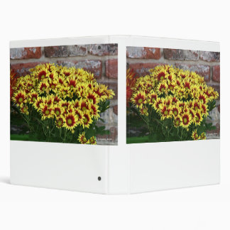 Red Yellow Flowers against brown red brick wall 3 Ring Binders