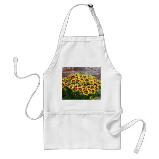 Red Yellow Flowers against brown red brick wall Adult Apron