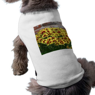 Red Yellow Flowers against brown red brick wall Doggie T Shirt