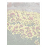 Red Yellow Flowers against brown red brick wall Personalized Letterhead
