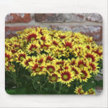 Red Yellow Flowers against brown red brick wall Mousepad