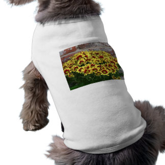Red Yellow Flowers against brown red brick wall Pet T Shirt