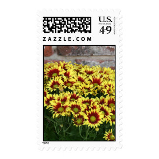 Red Yellow Flowers against brown red brick wall Postage Stamp
