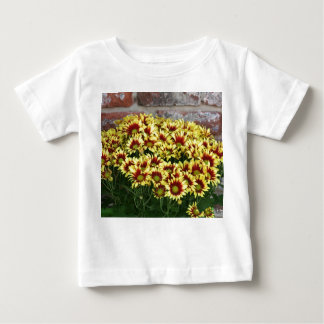 Red Yellow Flowers against brown red brick wall Shirt