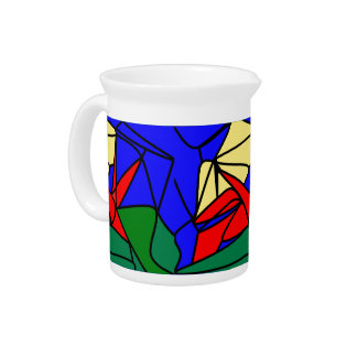 Red Yellow flowers Drink Pitcher