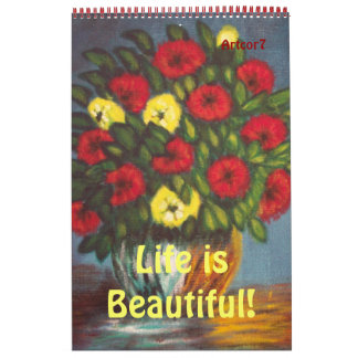 Red Yellow Flowers Painting 2015 Calendar One Page