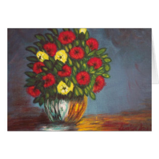 Red Yellow Flowers Vase Painting H Blank Card