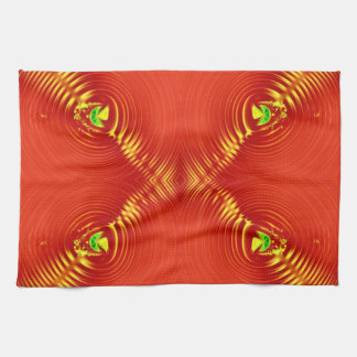 red yellow fractal design towels
