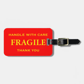 Red Yellow Fragile Handle with Care Thank You Bag Tag