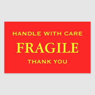Red/Yellow Fragile. Handle with Care. Thank you. Rectangular Sticker