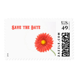 Red & Yellow Gerber Daisy Save the Date Postage