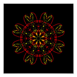 Red Yellow Gold Black Abstract Art Kaleidoscope Poster