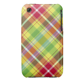 Red, yellow, green and orange tartan iPhone 3 Case-Mate cases