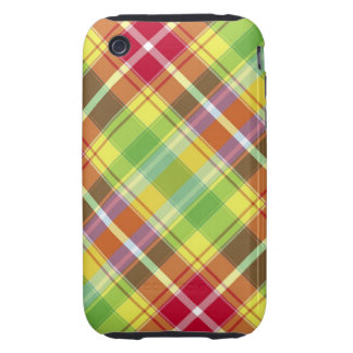Red, yellow, green and orange tartan iPhone 3 tough cases
