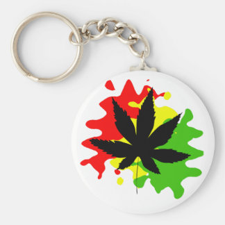 red yellow green behind a black weed keychain
