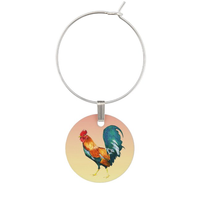 Red Yellow Green Blue Rooster Bird Wine Charm