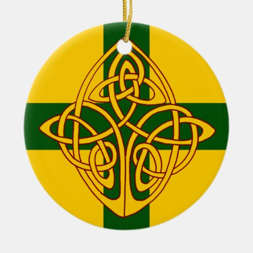Red Yellow & Green Celtic Cross Christmas Ornament