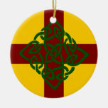 Red Yellow & Green Celtic Cross Ornament
