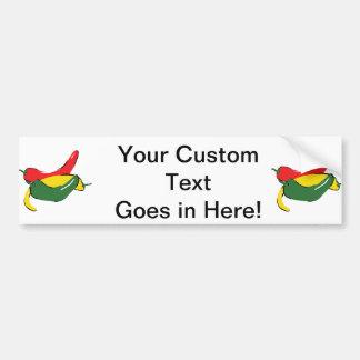 Red Yellow Green Chili Pepper Graphic Bumper Sticker