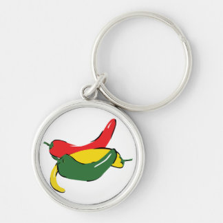 Red Yellow Green Chili Pepper Graphic Silver-Colored Round Keychain
