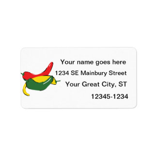 Red Yellow Green Chili Pepper Graphic Custom Address Labels