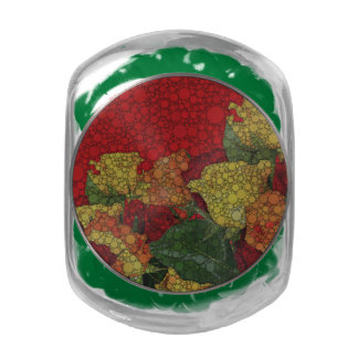 Red Yellow Green Floral Abstract Glass Candy Jars