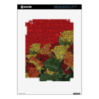 Red Yellow Green Floral Abstract iPad 3 Decal