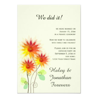 Red Yellow Green Floral Outdoor Reception Only Card