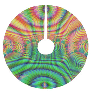 Red Yellow Green Fractal 7 Brushed Polyester Tree Skirt