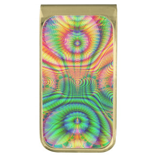 Red Yellow Green Fractal 7 Gold Finish Money Clip