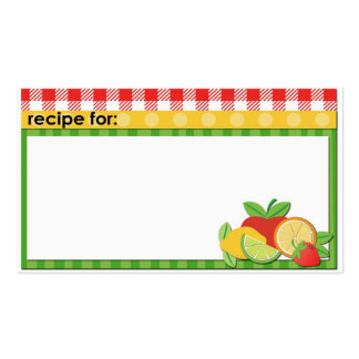 Red yellow green fruits business size recipe cards Double-Sided standard business cards (Pack of 100)