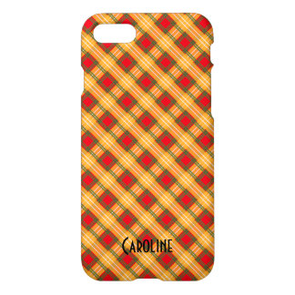 Red Yellow Green Gingham Pattern Personalized Name iPhone 8/7 Case