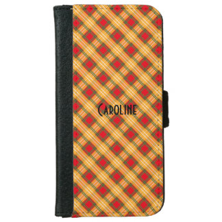 Red Yellow Green Gingham Pattern Personalized Name Wallet Phone Case For iPhone 6/6s