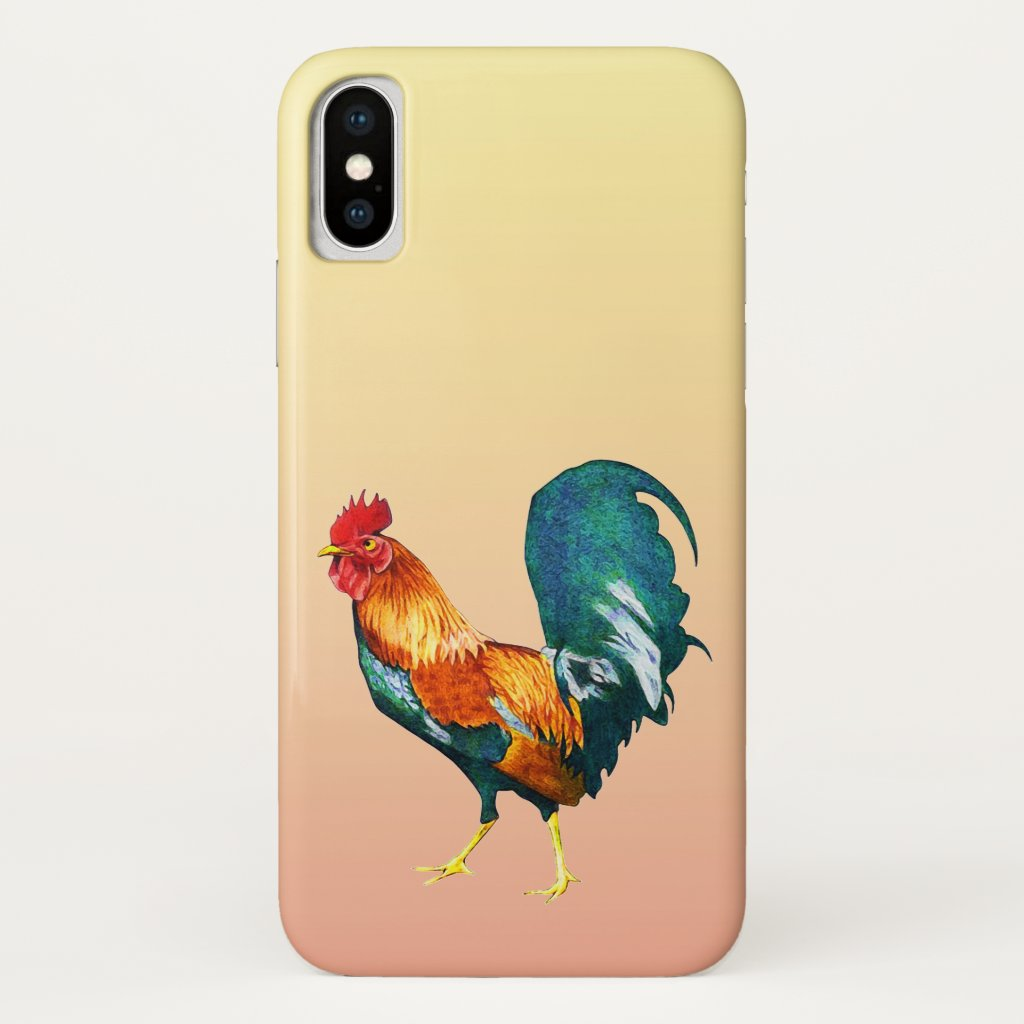 Red Yellow Green Rooster Bird iPhone X Case