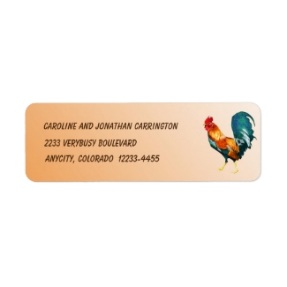 Red Yellow Green Rooster Bird Return Address Label