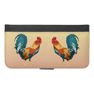 Red Yellow Green Rooster iPhone 6 Plus Wallet Case