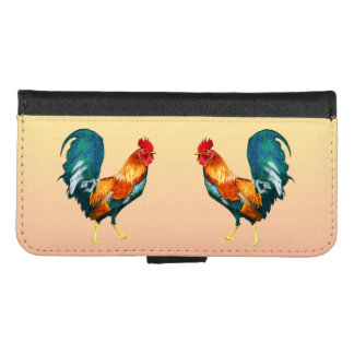 Red Yellow Green Roosters iPhone 8/7 Wallet Case