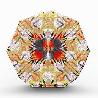 Red Yellow Grey Zebra Abstract Acrylic Award