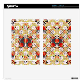 Red Yellow Grey Zebra Abstract Skins For Kindle Fire