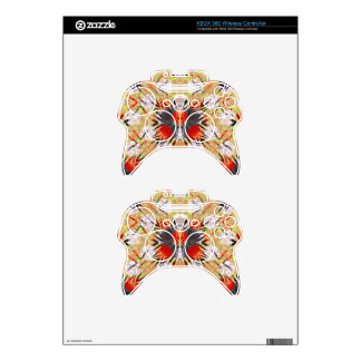 Red Yellow Grey Zebra Abstract Xbox 360 Controller Skin